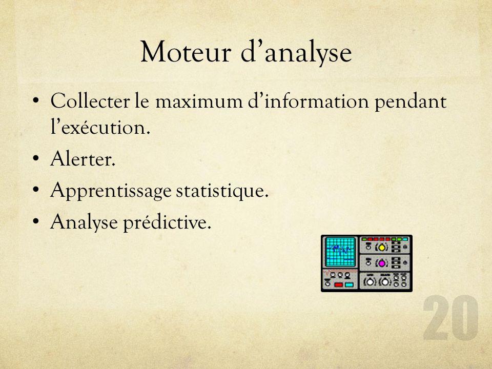 Moteur d'analyse Collecter le maximum d'information pendant l'exécution. Alerter. Apprentissage statistique.