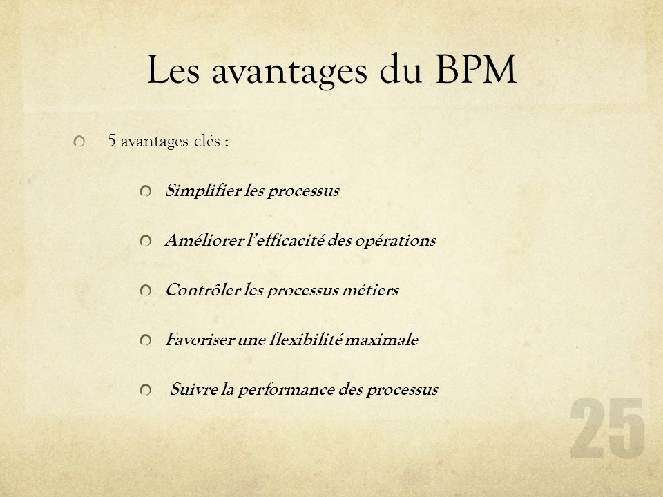 Les avantages du BPM 5 avantages clés : Simplifier les processus