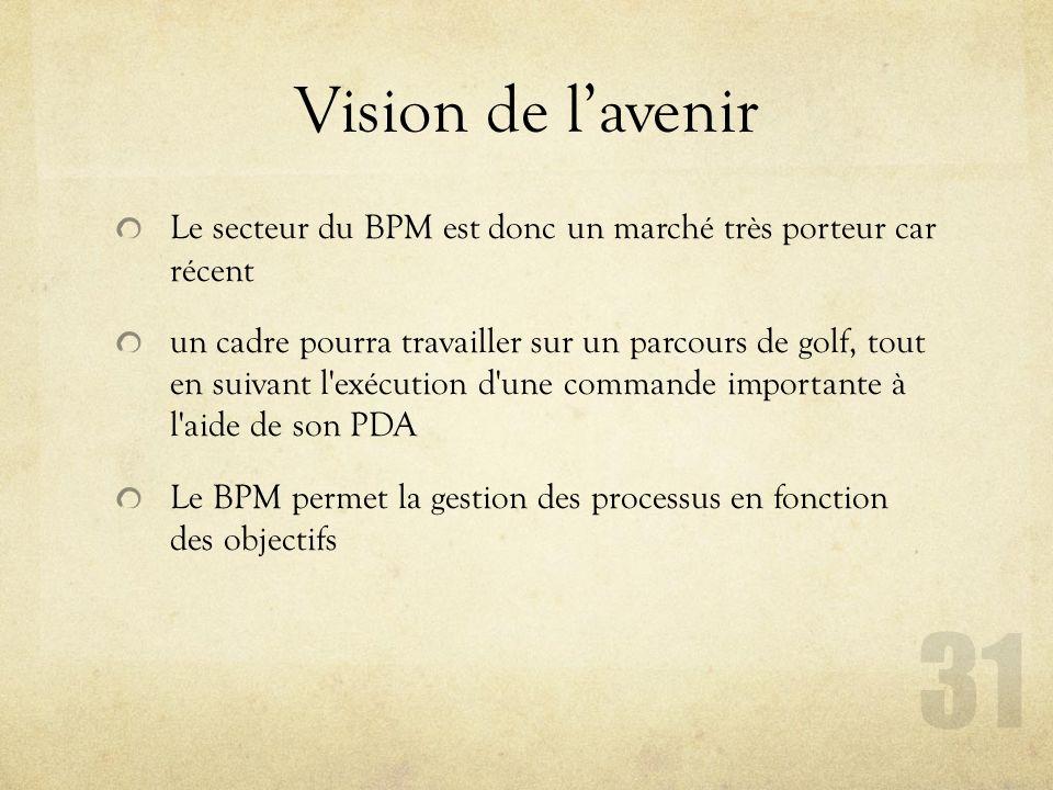 Vision de l'avenir Le secteur du BPM est donc un marché très porteur car récent.