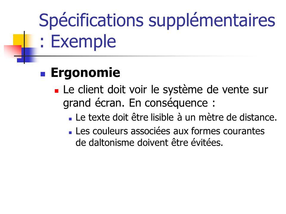 Spécifications supplémentaires : Exemple