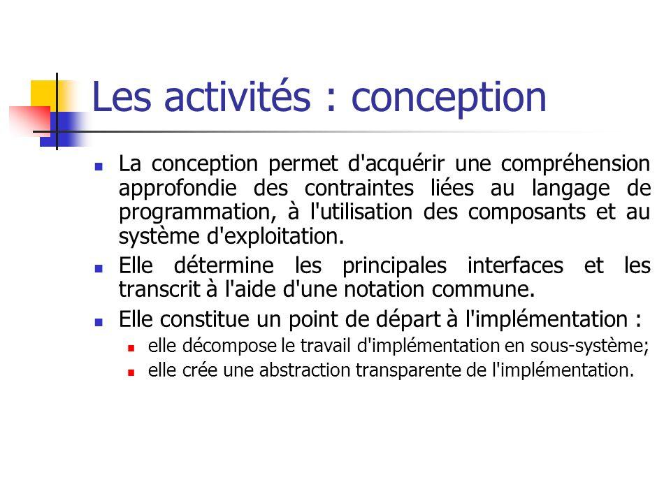 Les activités : conception