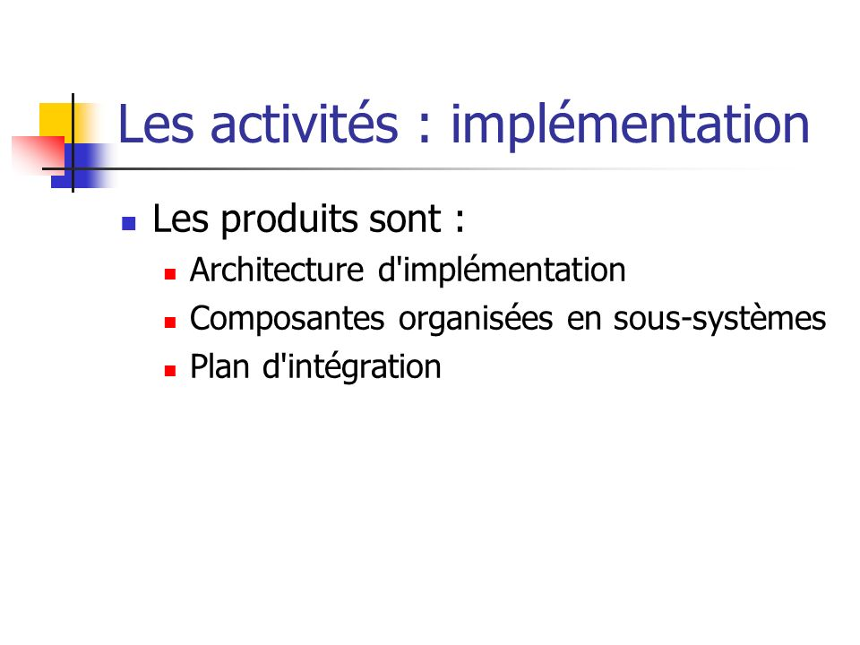 Les activités : implémentation
