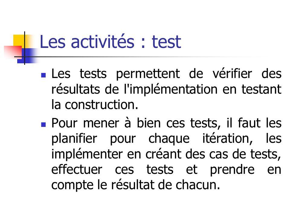 Les activités : test Les tests permettent de vérifier des résultats de l implémentation en testant la construction.