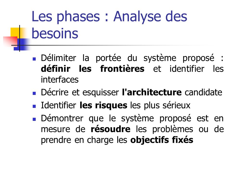 Les phases : Analyse des besoins