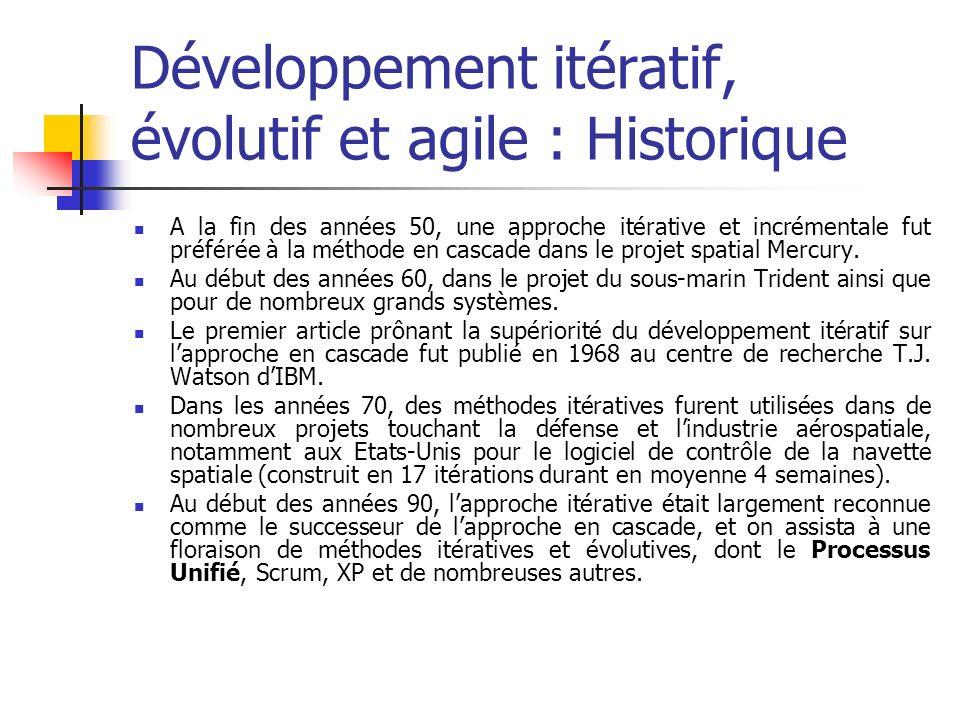 Développement itératif, évolutif et agile : Historique