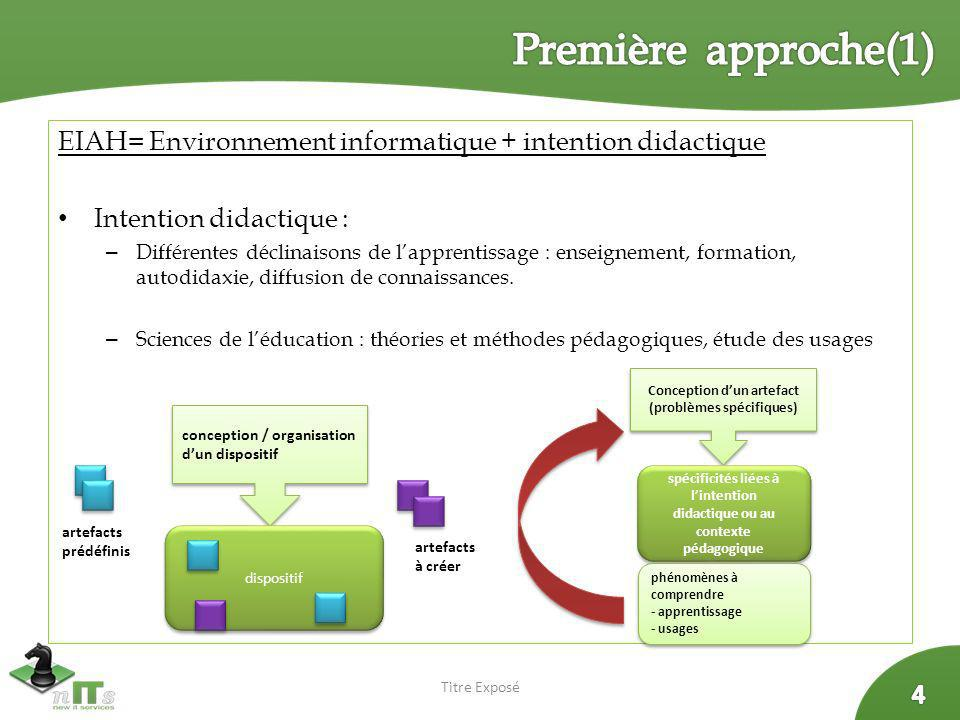 Première approche(1) EIAH= Environnement informatique + intention didactique. Intention didactique :