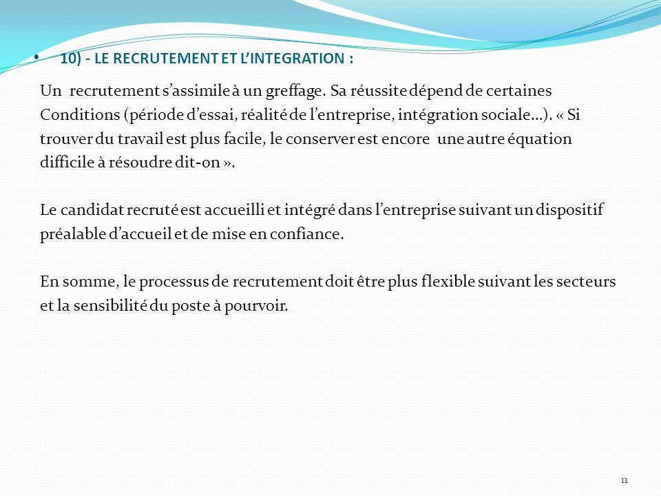 10) - LE RECRUTEMENT ET L'INTEGRATION :