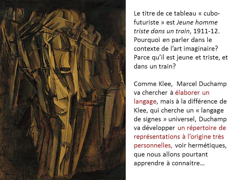 Le titre de ce tableau « cubo-futuriste » est Jeune homme triste dans un train, 1911-12.