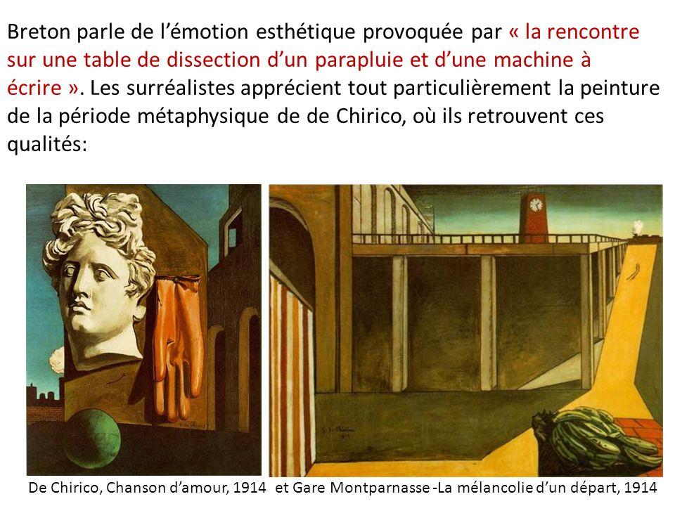 Breton parle de l'émotion esthétique provoquée par « la rencontre sur une table de dissection d'un parapluie et d'une machine à écrire ». Les surréalistes apprécient tout particulièrement la peinture de la période métaphysique de de Chirico, où ils retrouvent ces qualités: