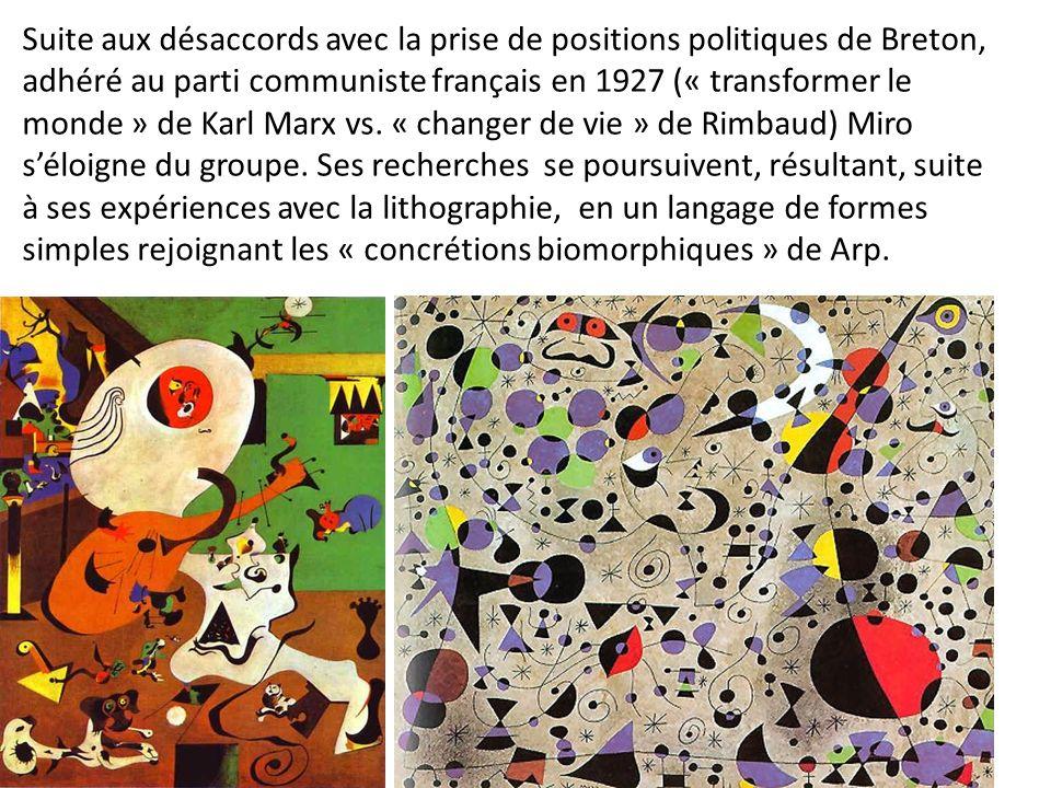 Suite aux désaccords avec la prise de positions politiques de Breton, adhéré au parti communiste français en 1927 (« transformer le monde » de Karl Marx vs. « changer de vie » de Rimbaud) Miro s'éloigne du groupe. Ses recherches se poursuivent, résultant, suite à ses expériences avec la lithographie, en un langage de formes simples rejoignant les « concrétions biomorphiques » de Arp.