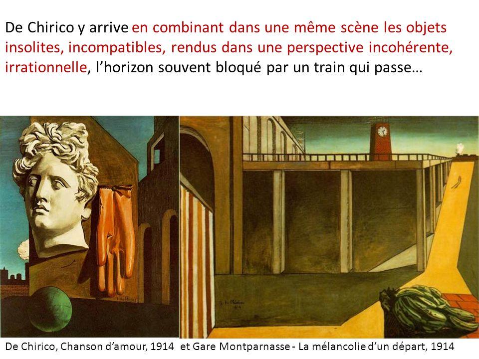 De Chirico y arrive en combinant dans une même scène les objets insolites, incompatibles, rendus dans une perspective incohérente, irrationnelle, l'horizon souvent bloqué par un train qui passe…