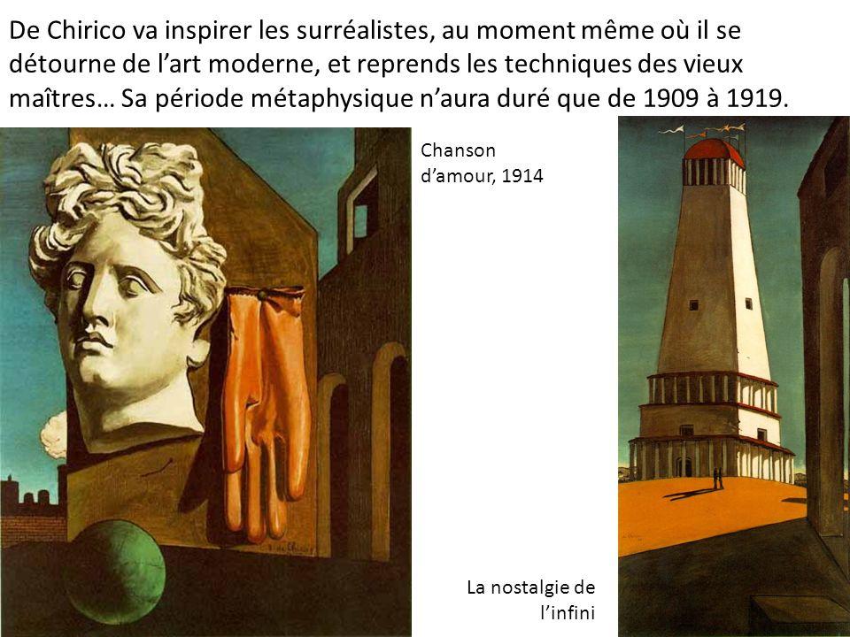 De Chirico va inspirer les surréalistes, au moment même où il se détourne de l'art moderne, et reprends les techniques des vieux maîtres… Sa période métaphysique n'aura duré que de 1909 à 1919.