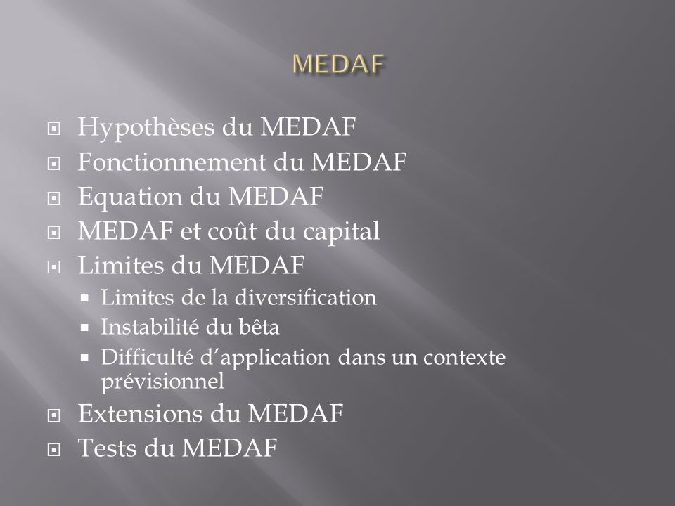 Fonctionnement du MEDAF Equation du MEDAF MEDAF et coût du capital