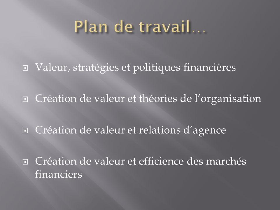 Plan de travail… Valeur, stratégies et politiques financières