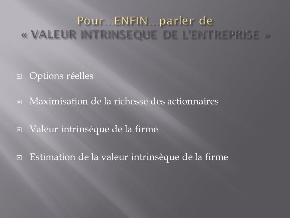 Pour…ENFIN…parler de « VALEUR INTRINSEQUE DE L'ENTREPRISE »
