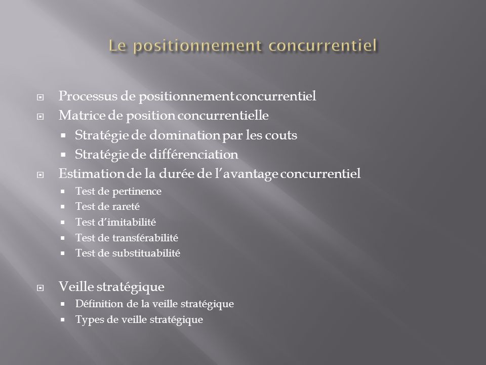 Le positionnement concurrentiel