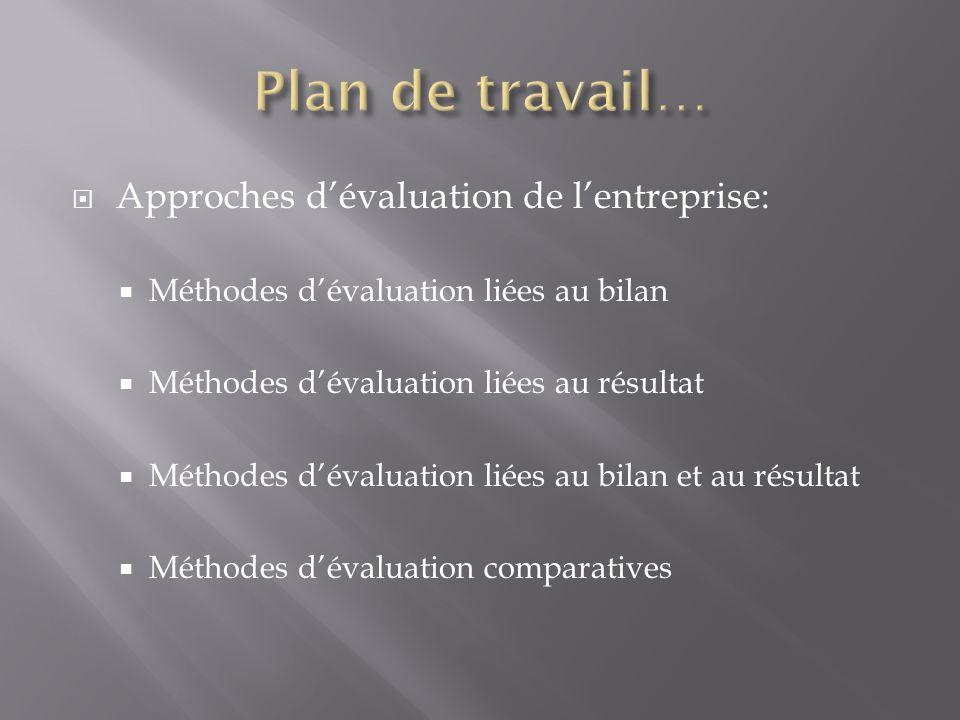 Plan de travail… Approches d'évaluation de l'entreprise: