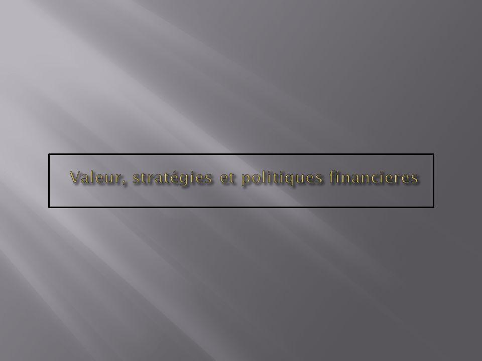 Valeur, stratégies et politiques financieres