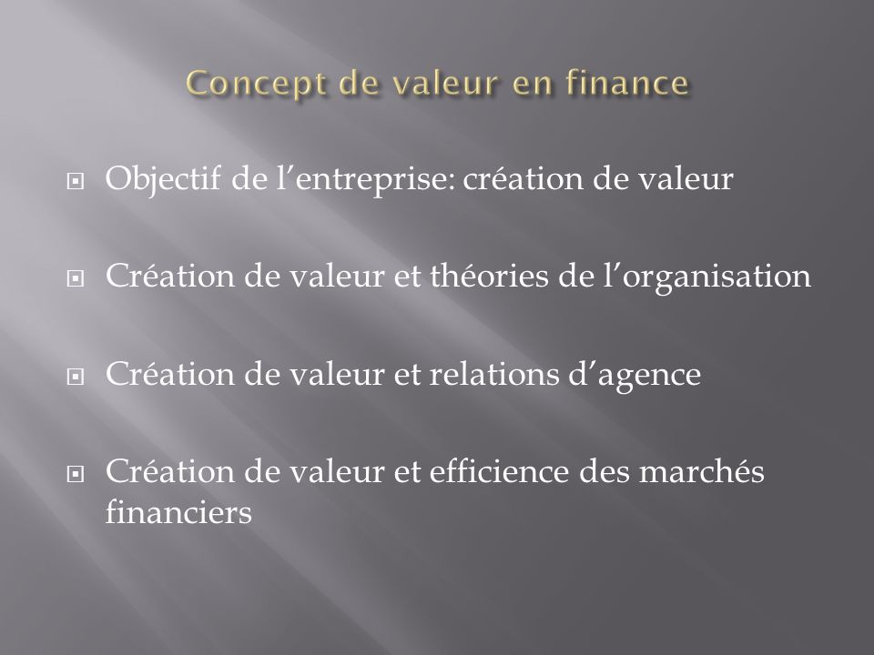 Concept de valeur en finance