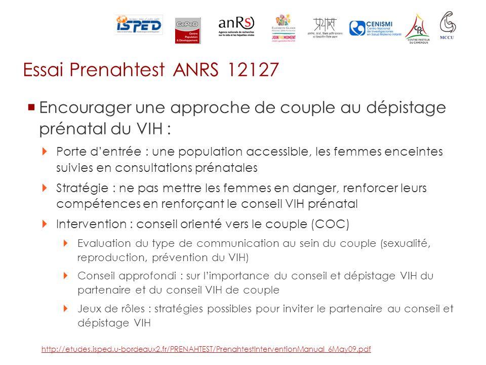 Essai Prenahtest ANRS 12127 Encourager une approche de couple au dépistage prénatal du VIH :