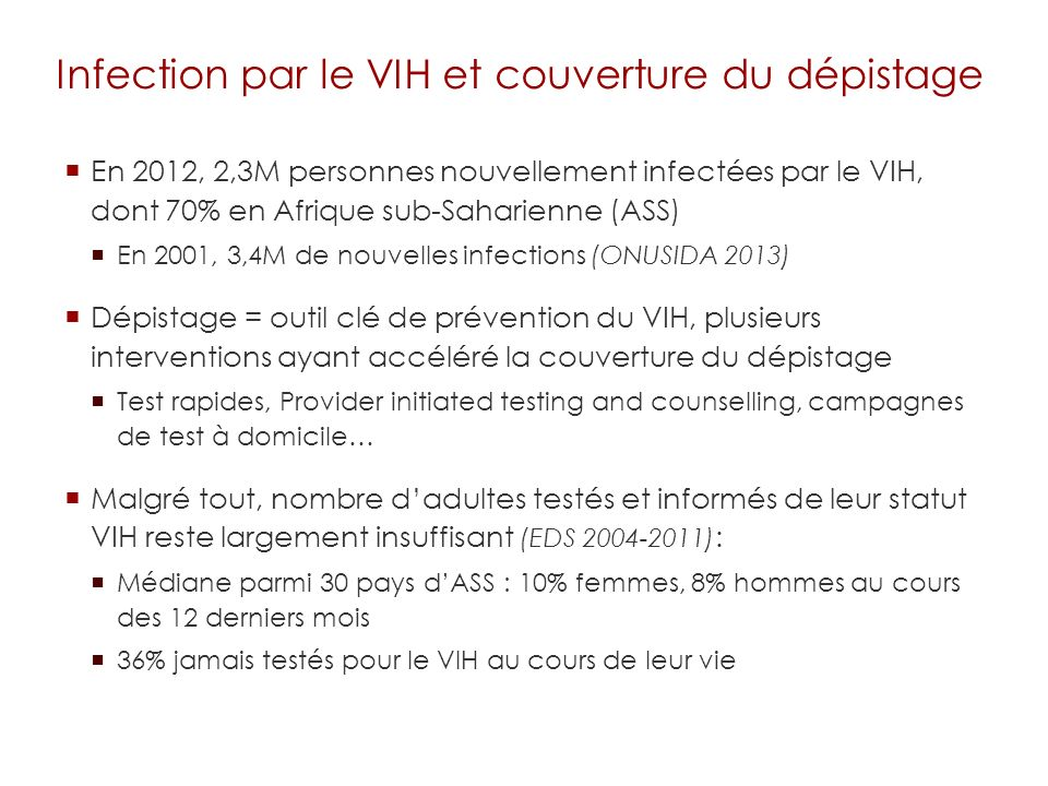 Infection par le VIH et couverture du dépistage