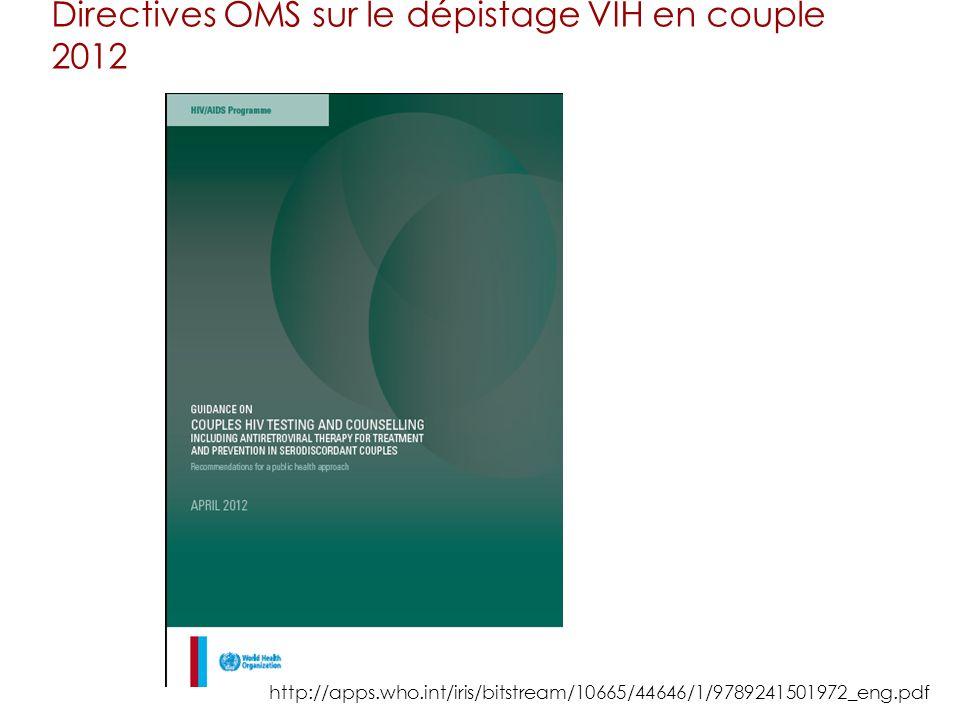 Directives OMS sur le dépistage VIH en couple 2012