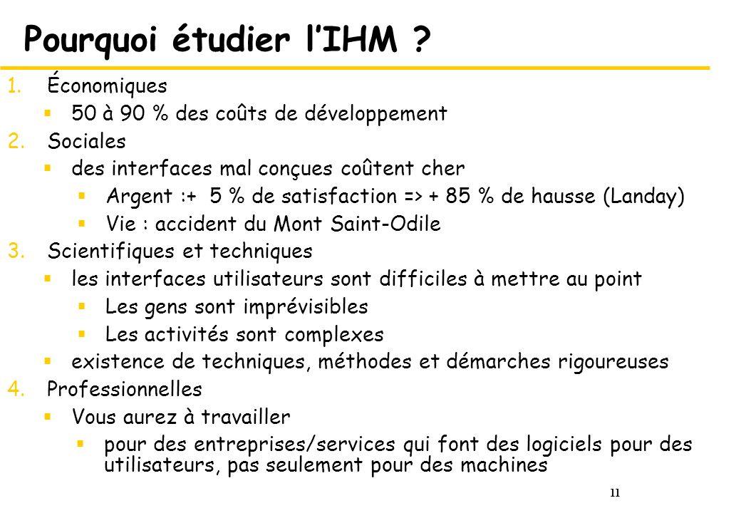 Pourquoi étudier l'IHM