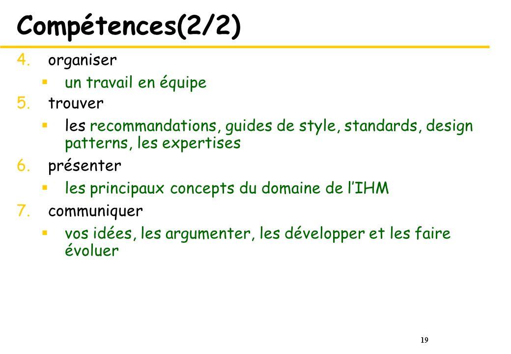 Compétences(2/2) organiser un travail en équipe trouver