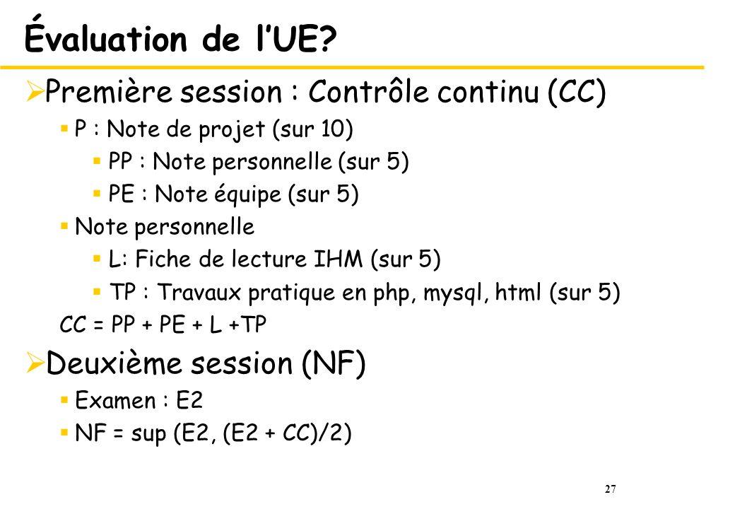 Évaluation de l'UE Première session : Contrôle continu (CC)