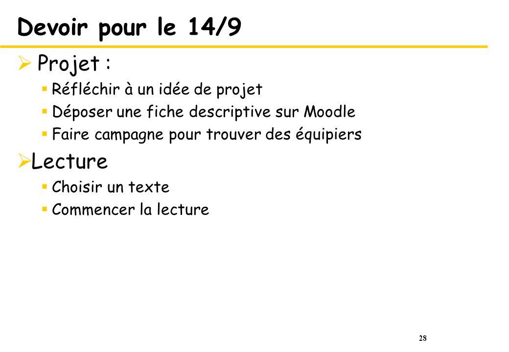 Devoir pour le 14/9 Projet : Lecture Réfléchir à un idée de projet