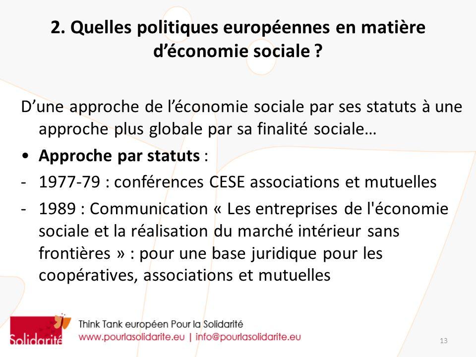 2. Quelles politiques européennes en matière d'économie sociale