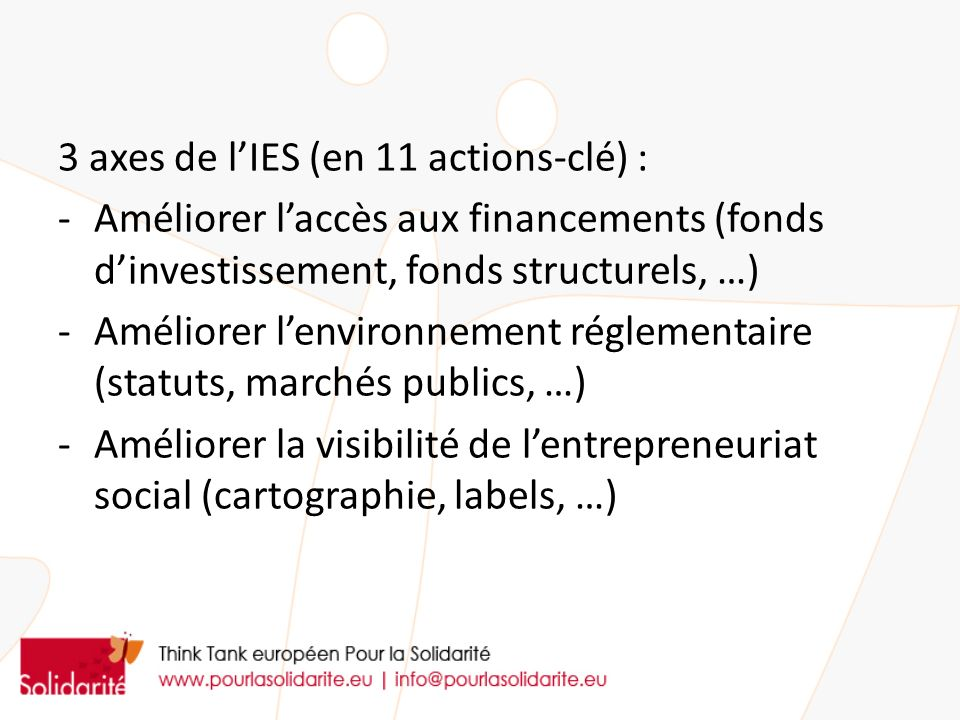 3 axes de l'IES (en 11 actions-clé) :