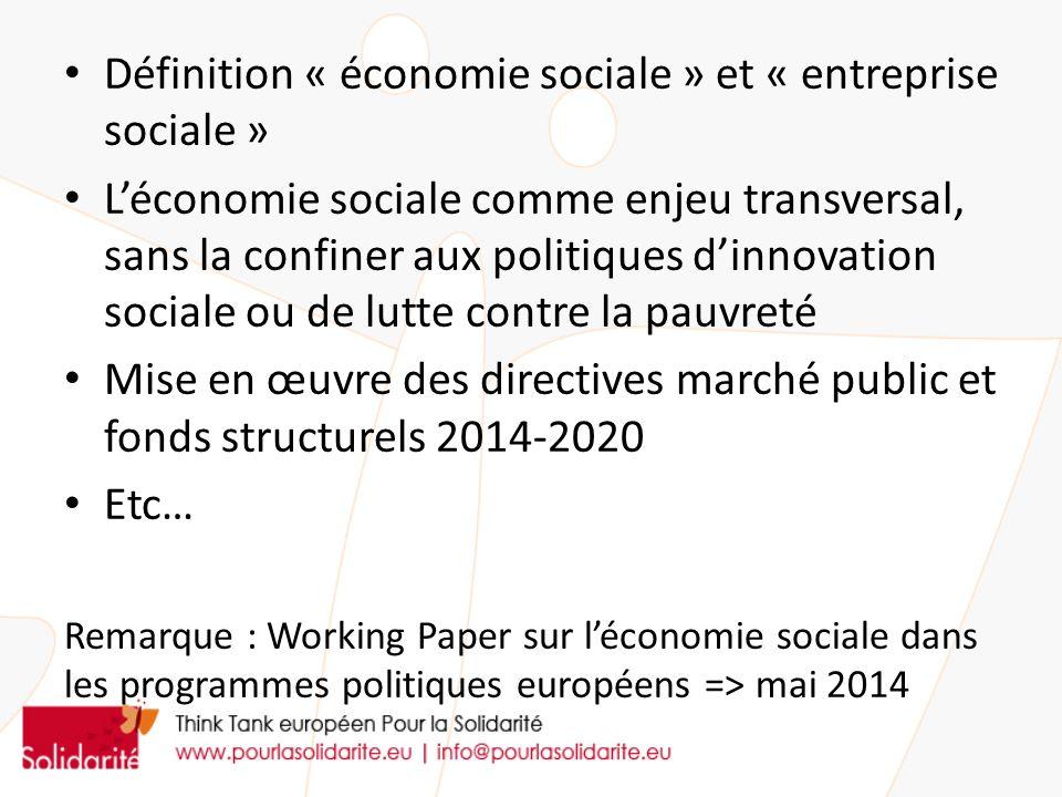 Définition « économie sociale » et « entreprise sociale »