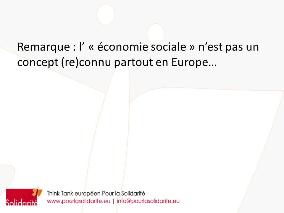 Remarque : l' « économie sociale » n'est pas un concept (re)connu partout en Europe…