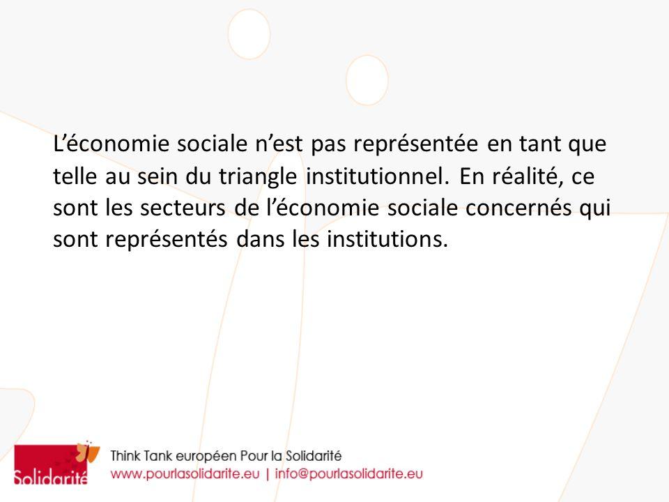 L'économie sociale n'est pas représentée en tant que telle au sein du triangle institutionnel.
