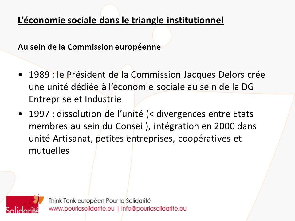 L'économie sociale dans le triangle institutionnel