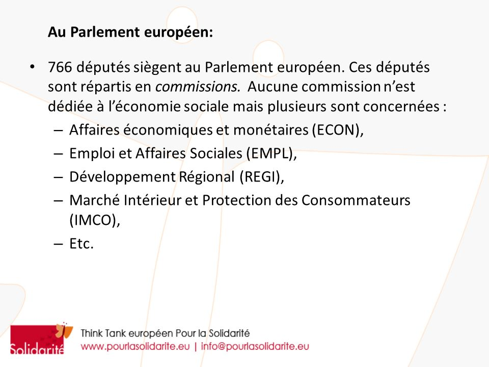Au Parlement européen: