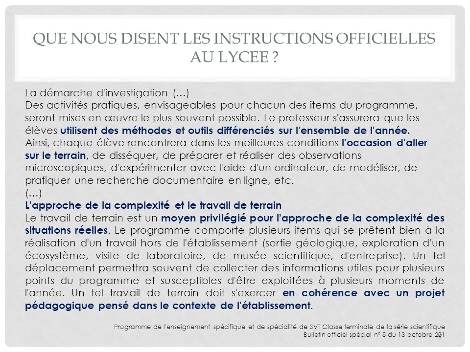 Que nous disent les instructions officielles au lycee