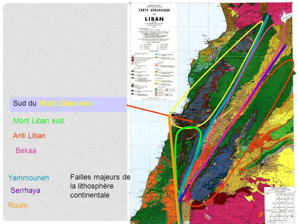 Sud du Mont Liban nord Mont Liban sud. Anti Liban. Bekaa. Yammouneh. Failles majeurs de la lithosphère continentale.