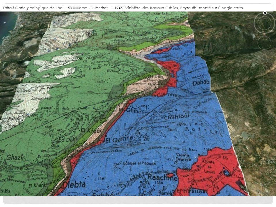 Extrait Carte géologique de Jbail - 50. 000ème (Dubertret, L