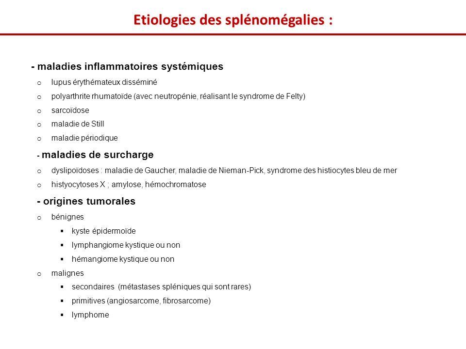 Etiologies des splénomégalies :