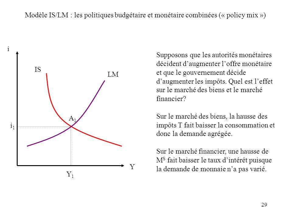 Modèle IS/LM : les politiques budgétaire et monétaire combinées (« policy mix »)