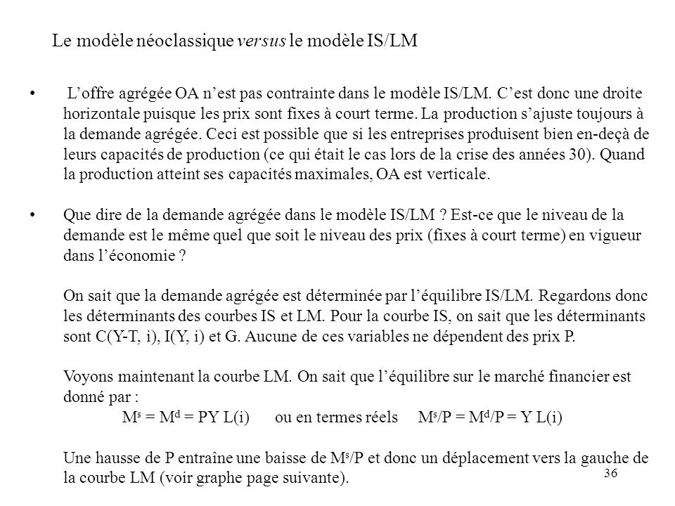 Ms = Md = PY L(i) ou en termes réels Ms/P = Md/P = Y L(i)