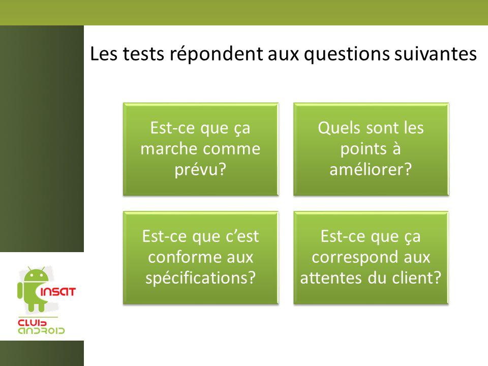 Les tests répondent aux questions suivantes