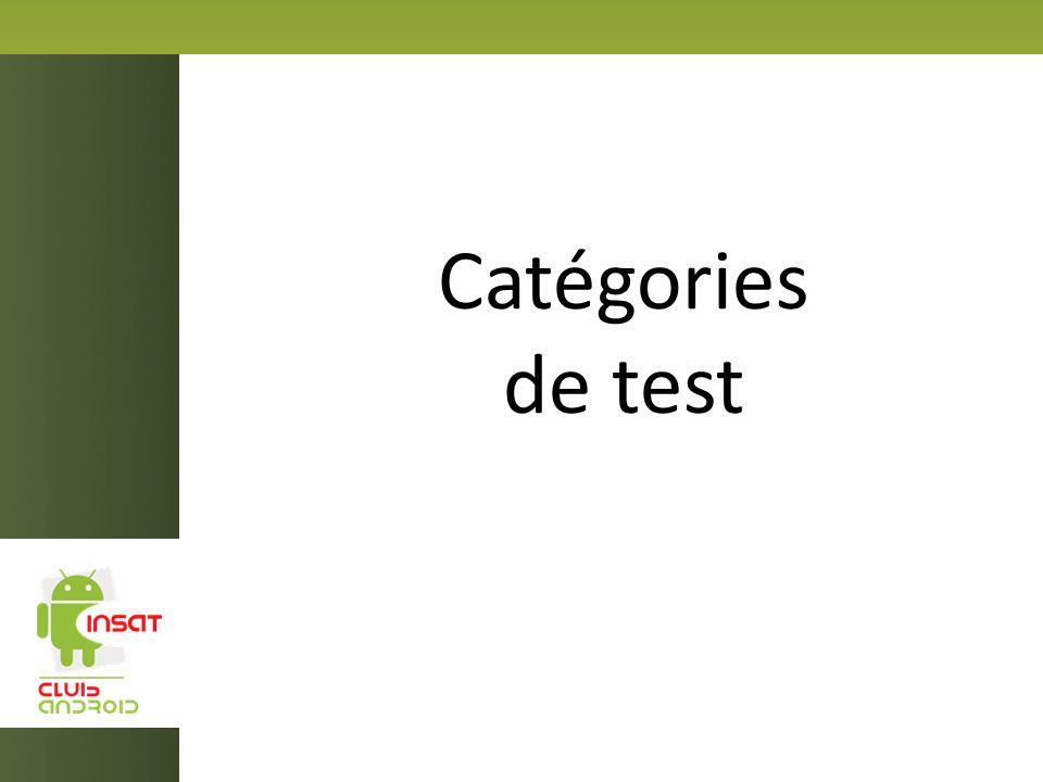 Catégories de test