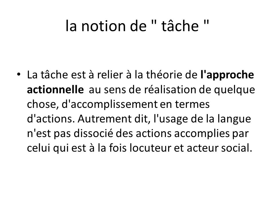 la notion de tâche