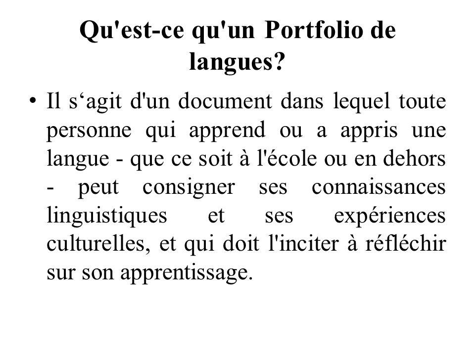 Qu est-ce qu un Portfolio de langues