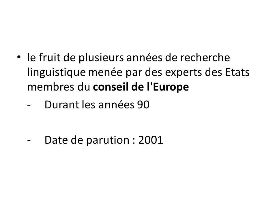 le fruit de plusieurs années de recherche linguistique menée par des experts des Etats membres du conseil de l Europe
