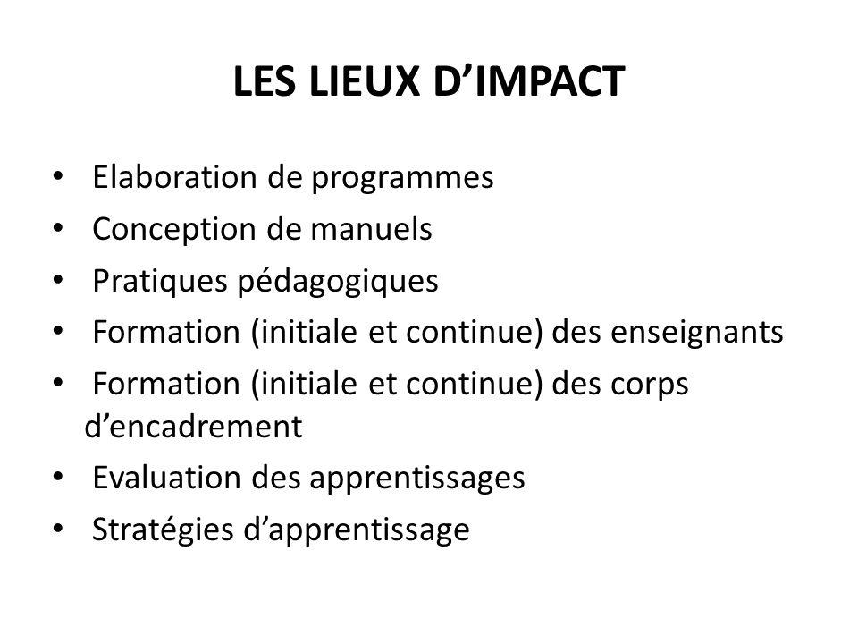 LES LIEUX D'IMPACT Elaboration de programmes Conception de manuels