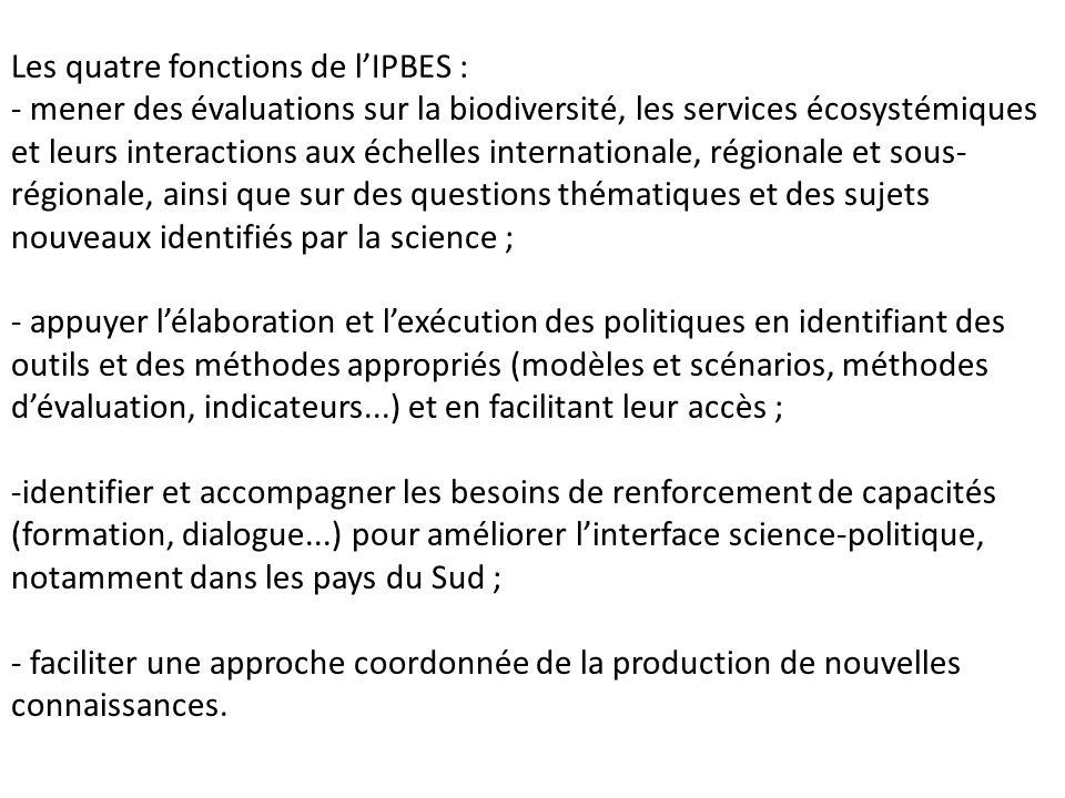 Les quatre fonctions de l'IPBES :